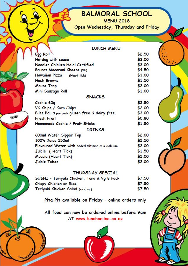 Updated canteen menu 2018